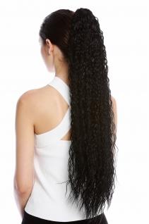 Haarteil Zopf extrem lang voluminös lockig Krepplocken gekreppt Schwarz 75cm