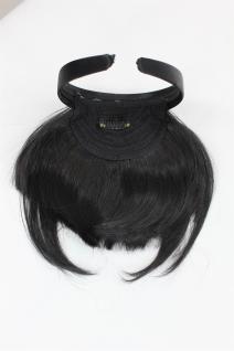 Clip-in Pony, Haarreif, längeres Seitenhaar, Schwarz, natürl. Wirkung, HA071T-1B - Vorschau 4