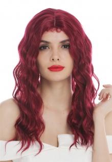 Perücke Damenperücke lang wellig Mittelscheitel mit Haaransätzen Granatrot