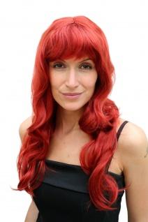 Perücke Damen rot Pony lang wellig Hollywood Diva Femme Fatale Karneval Perrücke
