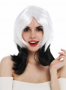 Perücke Damenperücke Halloween Karneval Vamp schwarz weiß gestuft Sexy Hexe