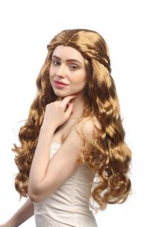 Perücke Dame Fasching Karneval lang wellig braun blond geflochten Mittelscheitel