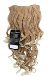 Clip-in Haarteil 7 Klammern 3/4 Perücke Halbperücke Blond Mix 50 cm H9503-27T613