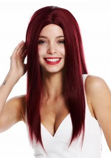 Perücke Damenperücke lang glatt Pony Mittelscheitel Rot Bordeauxrot Weinrot