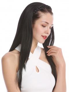 Halbperücke Haarteil edel geflochtener Haarreif glatt sehr lang 70 cm Schwarz