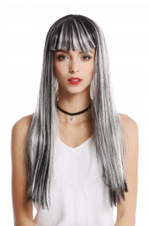 Perücke Damen Karneval Grau Schwarz Weiß gesträhnt glatt lang Pony Disco Alien