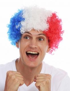 Perücke Karneval Afro Fan wig Fußball WM Tricolore Blau Weiß Rot Frankreich