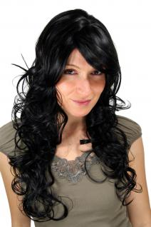 Fashion Qualitäts-Perücke schwarz gewellt lang wilde Mähne Wig 9329-1B ca. 65 cm