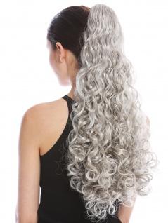 Haarteil Zopf Pferdeschwanz lang voluminös stark gelockt lockig Grau Silbergrau