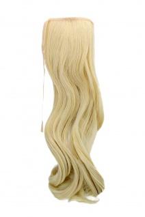 Haarteil ZOPF Hell-Blond wellig 45cm YZF-TC18-613 Band Klammer Haarverlängerung