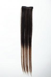 Breite Extension 2 Clips Strähne Haarverlängerung glatt Ombre 45cm Braun