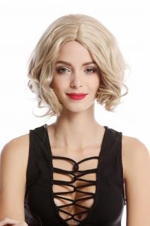 Perücke Damenperücke kurz Longbob Mittelscheitel gelockte Spitzen Blond Mix