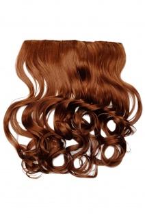 Clip-In Extension Haarverlängerung breit hitzefest 5 Clip lockig kupferbraun