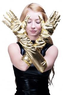 Karneval Handschuhe Damenhandschuhe lang Burlesque Gold Goldfarben Futuresk Z073