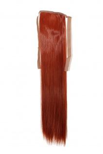Haarteil ZOPF Tizian-Rot glatt 45cm YZF-TS18-350 Band Klammer Haarverlängerung