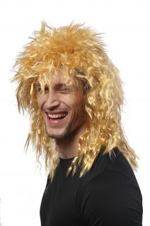 Perücke Damen Herren Karneval Wilde Kink-Locken Löwe Proll Vokuhila Hell-Blond - Vorschau 3