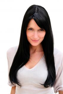 Lange Damenperücke schwarz glatt Scheitel Kunsthaar Haarersatz 60 cm 3115-2 NEU