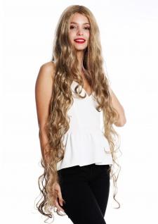 Perücke Damen lang Rapunzel gelockt gewellt Mittelscheitel Blond Mix VK-40