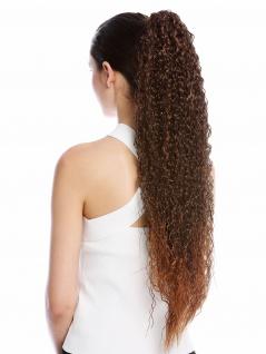 Haarteil Zopf extrem lang voluminös lockig Krepplocken gekreppt Kastanie Braun