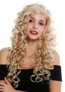 Perücke Damenperücke Lace-Front Teil-Mono Scheitel lang Locken Hellblond Blond
