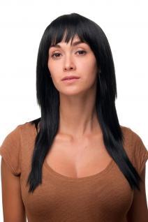 Schicke gestufte Perücke sexy schwarz lang glatte Haare Frisur 9214-1B 55cm