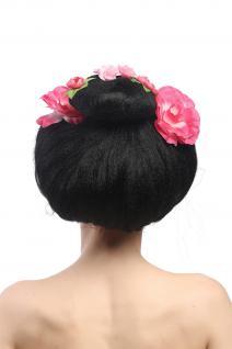 Perücke Damen Karneval Fasching Halloween Geisha Maiko China Girl Japan Blumen - Vorschau 3