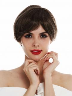 Perücke Damen Monofilament handgeknüpft kurz Braun Blond Highlights gesträhnt