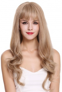 Perücke Damenperücke lang Pony glatt gewellte Spitzen Blond Mix H950D-27/613A