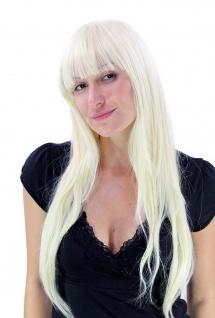 Perücke Damen Frauen lang Pony platin platinblond hellblond blond glatt YZF-4028