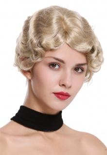 Damenperücke Perücke Frauen kurz 20er Jahre Charleston gewellt Scheitel Blond