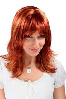 Damen Perücke Wig ATEMBERAUBEND Rot/Blond Wild GESTRÄHNT lang 45 cm 1548-350-144