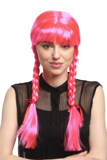 Perücke Damen Karnveval Cosplay Fasching Zöpfe geflochten Schulmädchen Rosa Pink