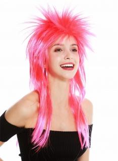 Perücke Karneval Punk Vokuhila Rocker wild 80s Wave toupiert lang rot rosa