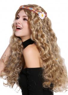 Perücke Blumenkind Hippie 60er 70er lang braun wellig Mittelscheitel Stirnband