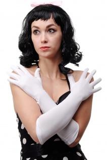 Karneval Fasching Handschuhe Damenhandschuhe lang weiß Oper Ball DWS-019-WHITE