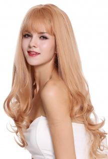 Perücke Damenperücke Pony lang glatt Spitzen gelockt Blond Aschlond Rotblond Mix