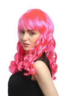 Perücke Damen Karneval Fasching Cosplay Korkenzieher Locken lang Pony rosa pink - Vorschau 4