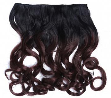 Clip-in Extension Haarverlängerung breit gelockt Locken Ombre Mahagoni Braun