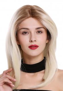 Perücke Damenperücke Lace-Front Mono Seitenscheitel lang glatt Ombre Braun Blond