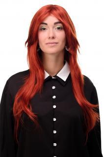 Perücke Wig sehr lang Rot Dunkel-Kupferrot gestuft glatt Scheitel 75cm 3110-135