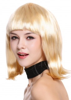 Perücke Damenperücke Karneval Longbob Bob schulterlang glatt Pony blond 0073-3