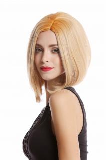 Perücke Damenperücke Bob Longbob kurz Mittelscheitel blond kupferblonde Ansätze