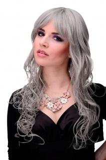 Perücke Damen Frauen lang lockig gelockt Silbergrau Grau Pony strähnig M-103