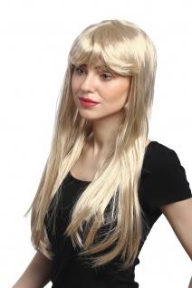 Perücke Damen Karneval Fasching lang glatt Pony Blond Hellblond Goldmarie 60 cm - Vorschau 2