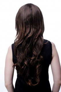 Damenperücke Wig lang wellig Braunmix brünett modisch Scheitel 60 cm 9011A-2T30 - Vorschau 3