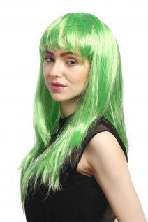 Perücke Karneval Fasching Damen lang glatt Pony grün Glitter Strähnen XR-003 - Vorschau 3