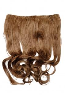 Clip-In Extension Haarverlängerung breit hitzefest 5 Clip lockig hellbraun