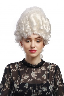 Perücke Damen Karneval Historisch Barock weiß Marie Antoinette Turmfrisur Adel - Vorschau 1