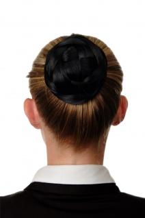 Dutt Haarteil aufwendig geflochten Haarknoten Brautschmuck Schwarz Q399D-1