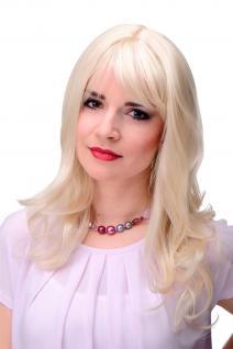 Elegante Damen Perücke Blond Blond-Mix gewellt Pony ca. 55cm 3001-303/220